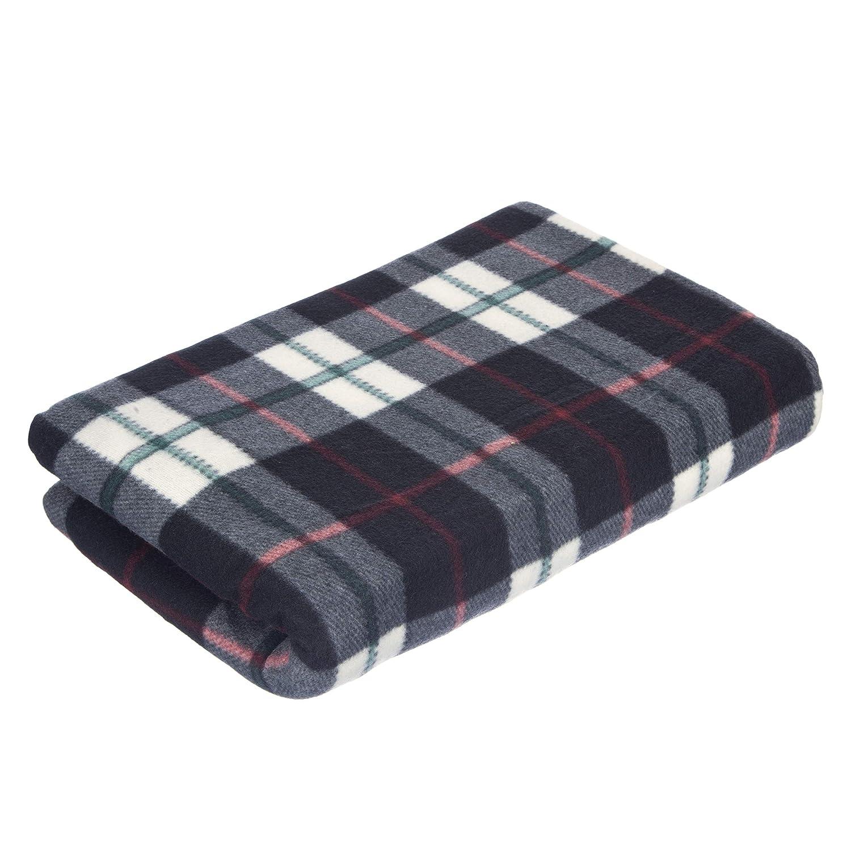 Forro Polar, 150 x 200 cm dise/ño de Cuadros Escoceses Color Negro IKB Manta para sof/á