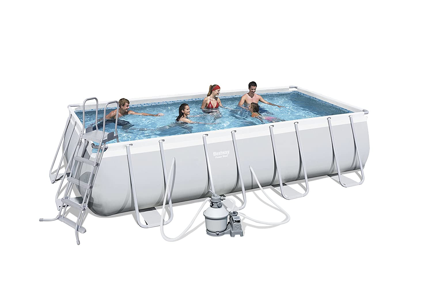 Bestway Power Steel Piscina Piscina con anillo hinchable Rectangular pool L cm