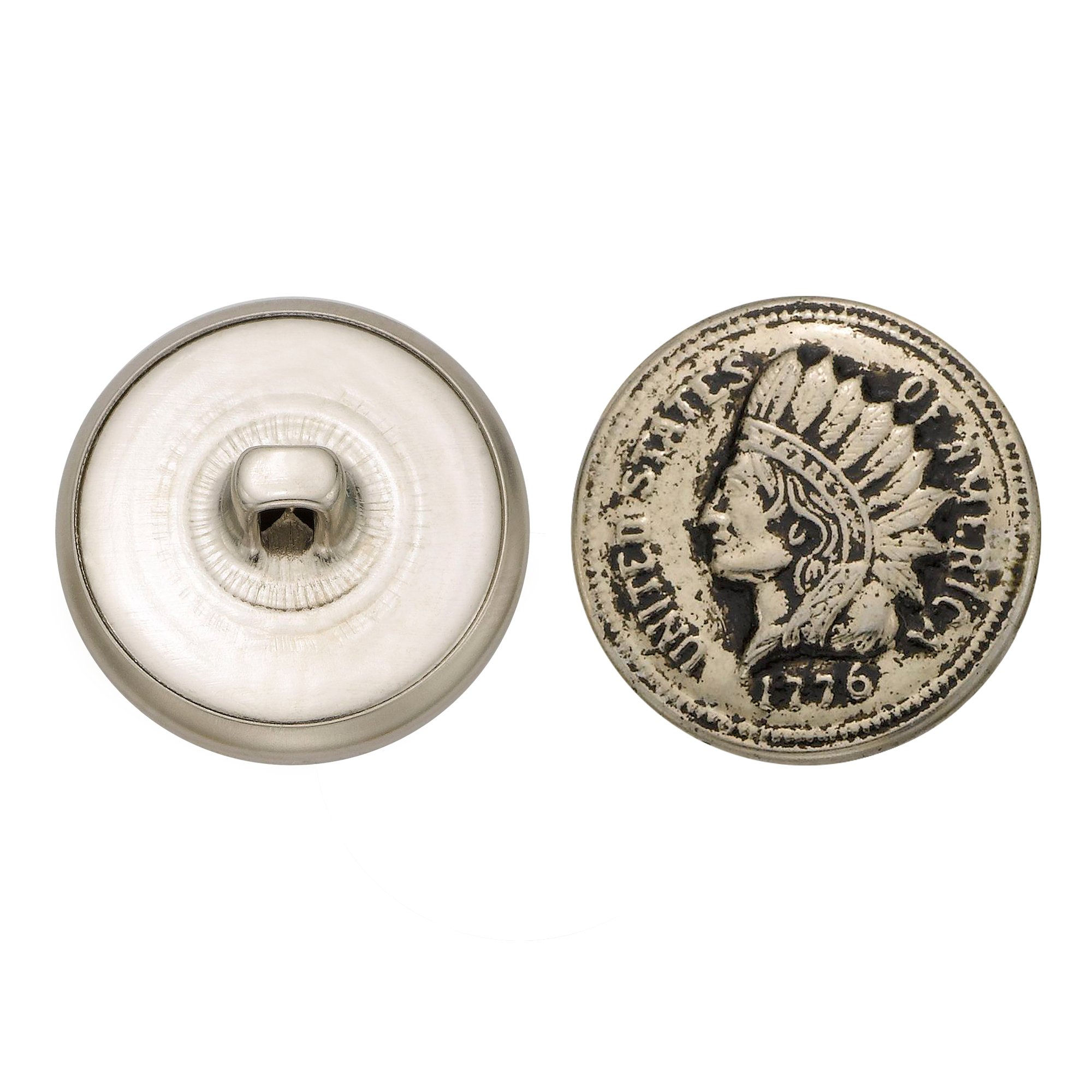 C&C Metal Products 5201 Indian Head Metal Button, Size 36 Ligne, Antique Nickel, 36-Pack