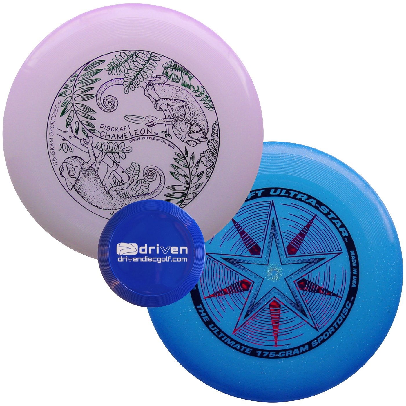 Discraft Ultra Star 2 Disc Ultimate Set + Mini Flyer (Ultra Violet - Blue Sparkle) by Discraft