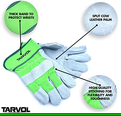 2 Pairs Split Leather Safety Work Gloves indoor outdoor home improvements hobby and craft indusrial