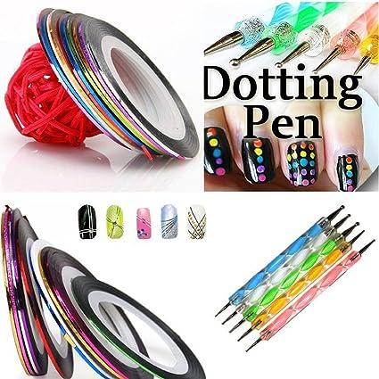 Juego de 5 bolígrafos para manicura de 2 maneras y 10 rollos de colores para decoración