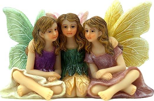 Figuras de hadas de jardín de hadas en miniatura, 3 hermosas hadas sentadas, Forever Friends, suministros de jardín de hadas, 1 unidad: Amazon.es: Jardín