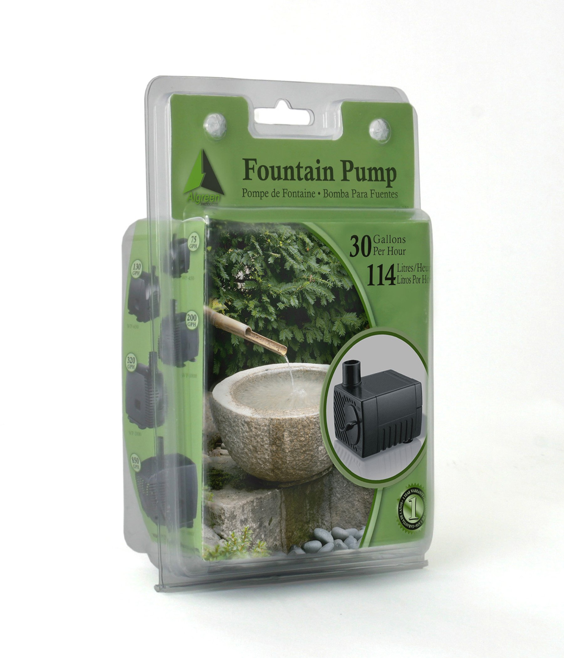Algreen 30GPH Statuary Fountain Pump for Water Features