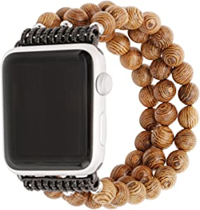 ZXK CO Watch Band for Apple Watch 42mm Handmade Luxury Beaded Jewelry Strap Elastic Stretch Replacement Bracelet Band for Apple iWatch 44mm and 42mm (Wooden)