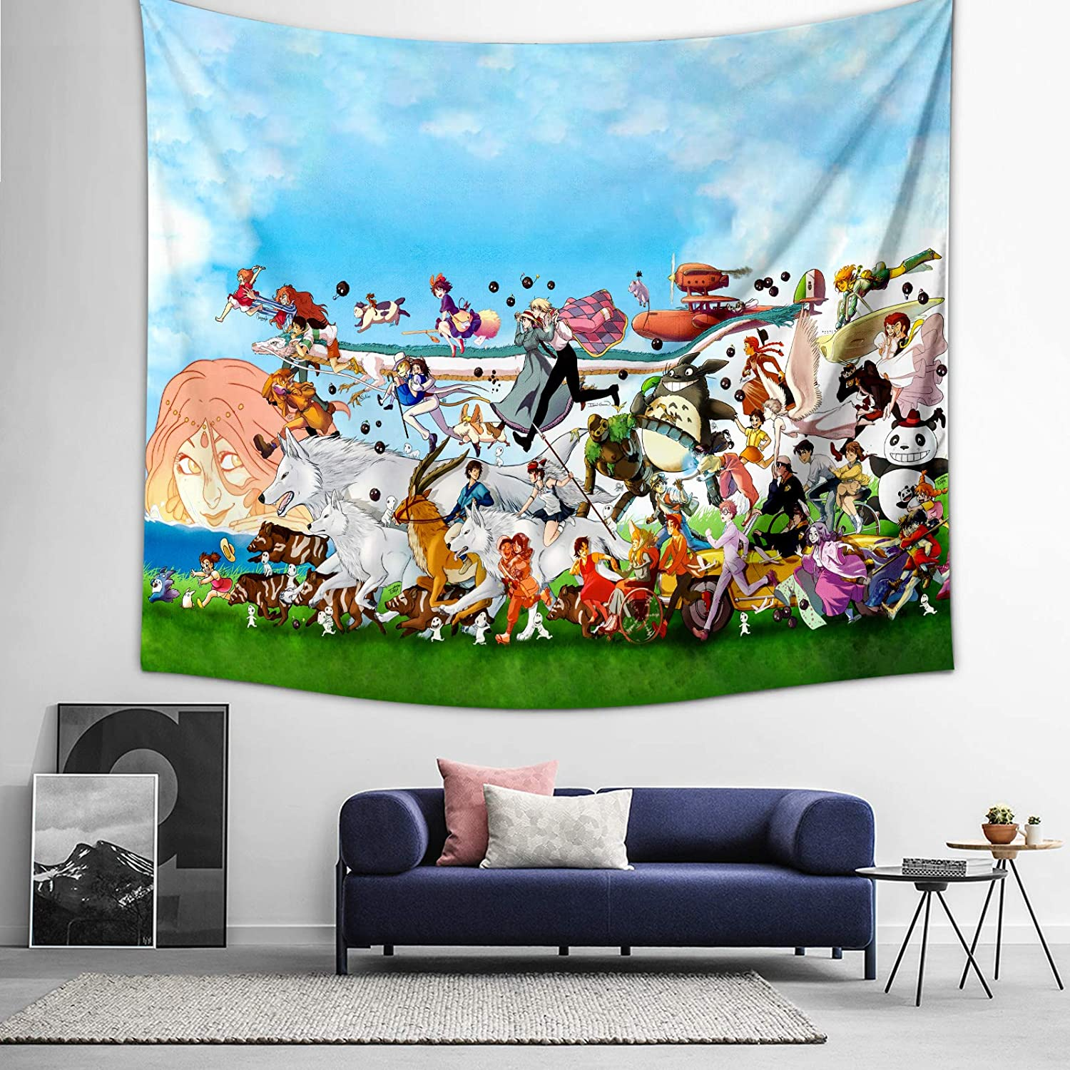 Tapestry Wall Hanging Hayao-Miyazaki Tapestry My Neighbor Toto-ro Spirited-Away Anime Tapestry for Home Living Room Bedroom Dorm Decoration60 x 40 Inches