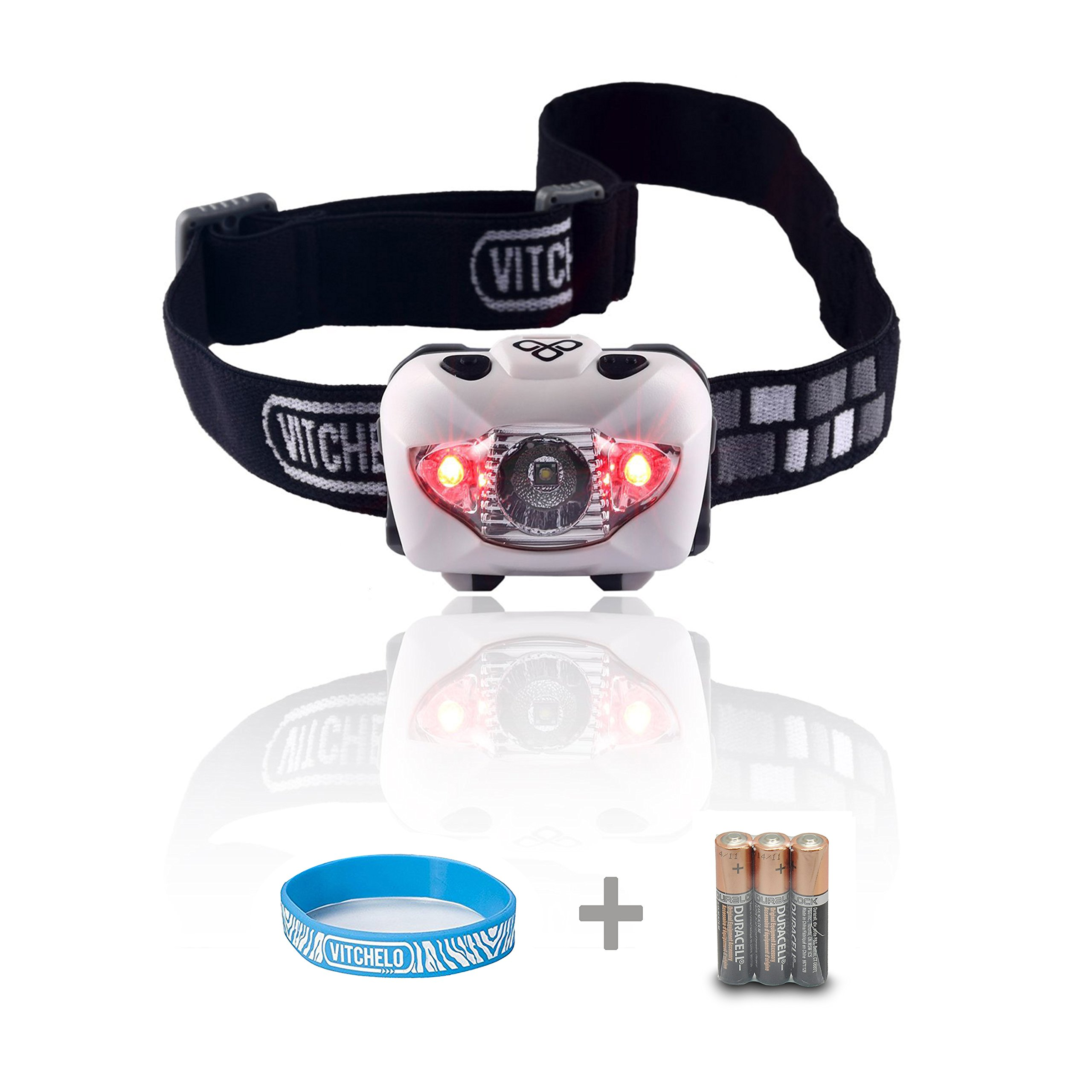 Vitchelo V800 Headlamp with White and Red LED Lights. Waterproof IPX6 and 168 Lumens Bright Head Light. 3 AAA Panasonic Batteries Included (White)
