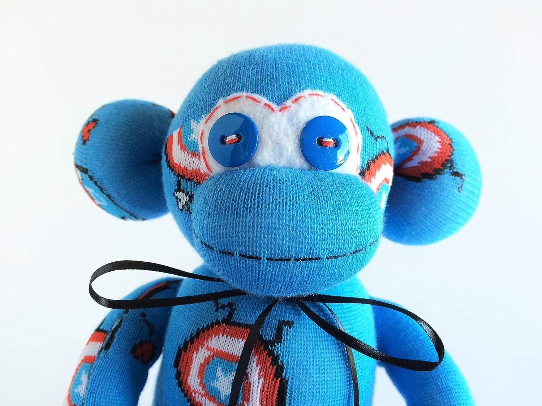 Captain America American Sock Monkey- America Sock Monkey Captain America Themed Sock Monkey Blue Sock Monkey USA