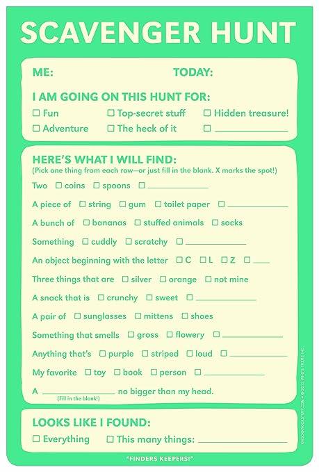 Amazon.com : Knock Knock Scavenger Hunt Playtime Pad : Paper ...