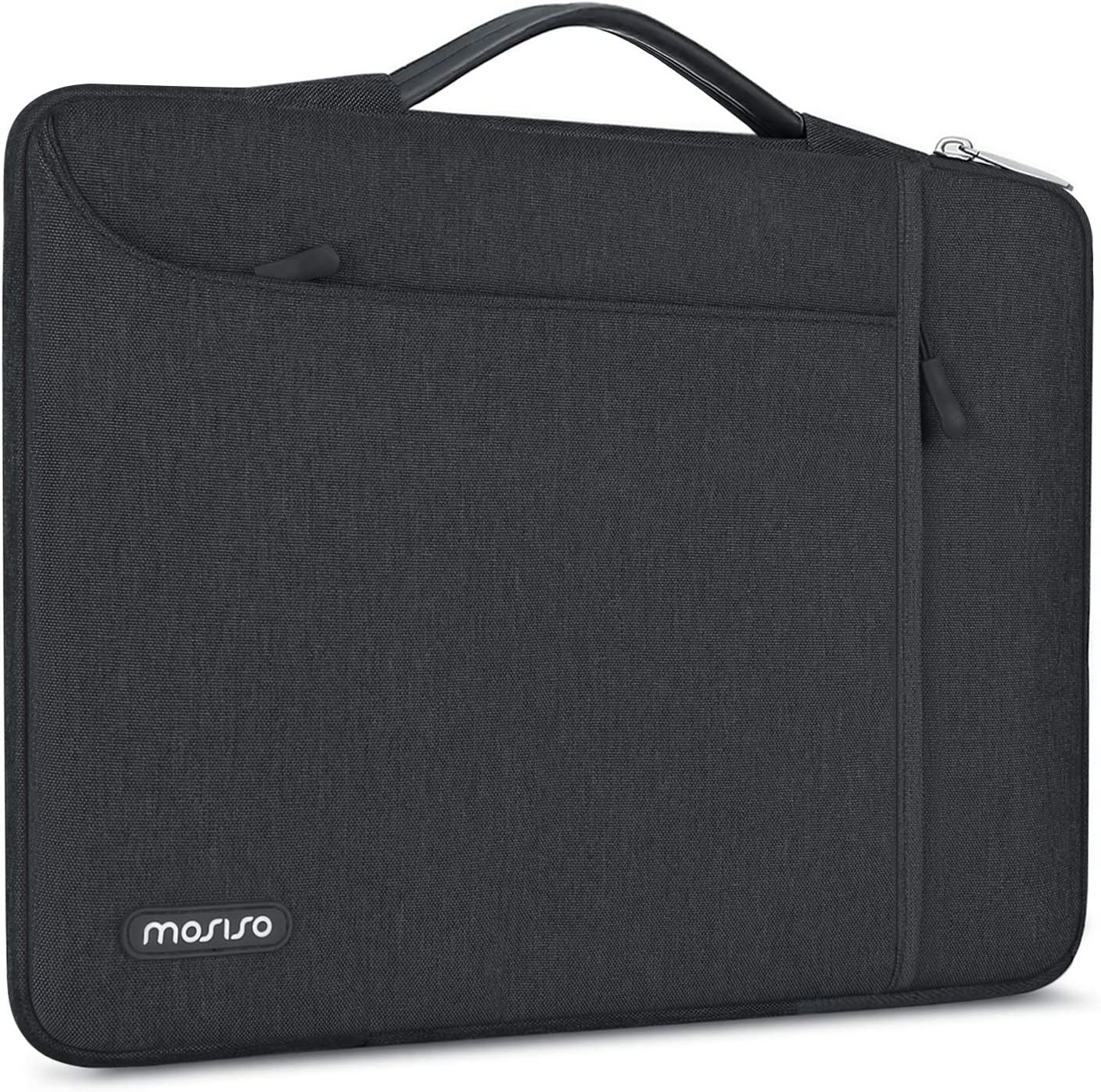 MOSISO 360 Protective Laptop Sleeve Compatible with 13-13.3 inch MacBook Pro, MacBook Air, Notebook, Shockproof Carrying Case Cover Handbag, Polyester Bag with Pockets & Back Trolley Belt, Space Gray