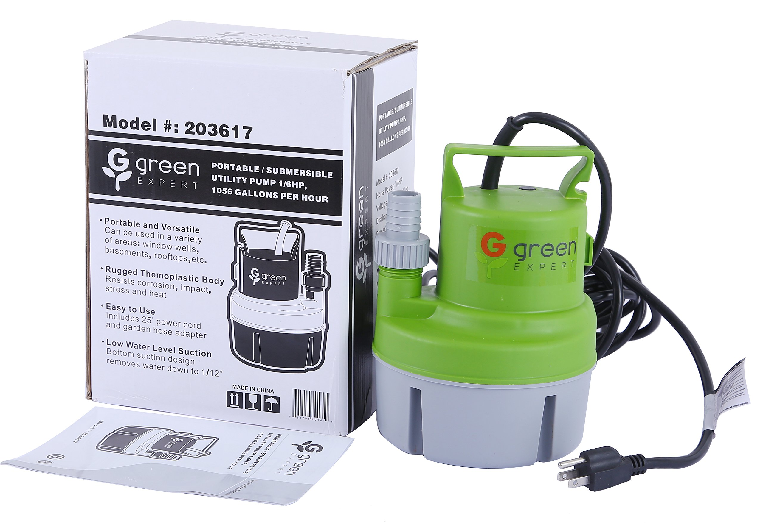 Green Expert 203617 1/6 HP Portable Submersible Utility Pump with 1056 GPH Flow Efficiently for Water Removal Basement Flood Drainage Pump with 3/4'' Adaptor Available for Standard Garden hose by G green EXPERT (Image #3)
