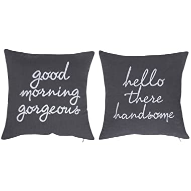 DecorHouzz Pillowcases Hi Handsome Good Morning Gorgeous Set of 2 Embroidered Pillow Cover Cushion Cover Throw Pillow Decorative Pillow Wedding Couple He and She Anniversary Gift 18 X18  (Grey)