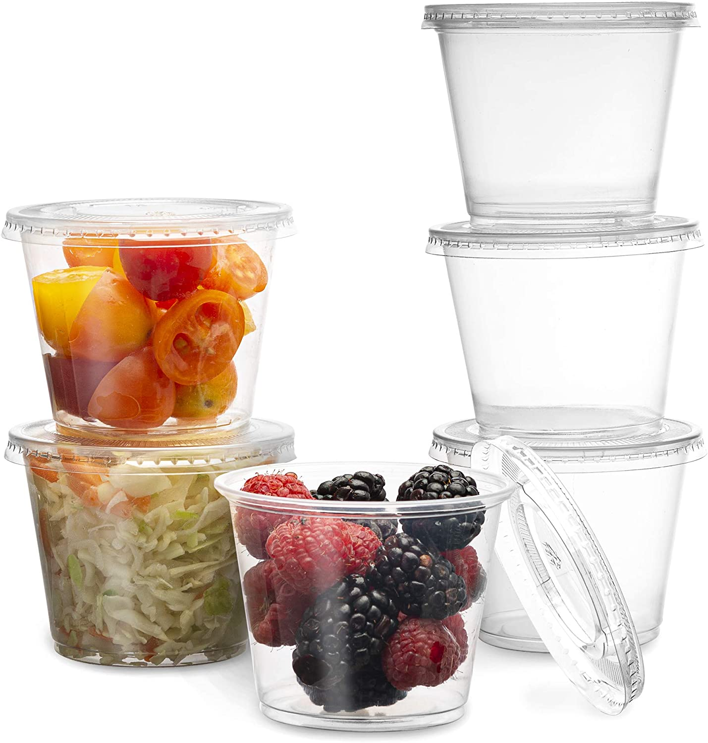 PlastiMade Clear Disposable Plastic Portion Cups With Lids (100 Sets - 1 Oz) - Disposable Condiment Cups, Sauce/Dip/Dressing Cups, Souffle Cups & Jello Shot Cups With Lids | Great Sampling Container