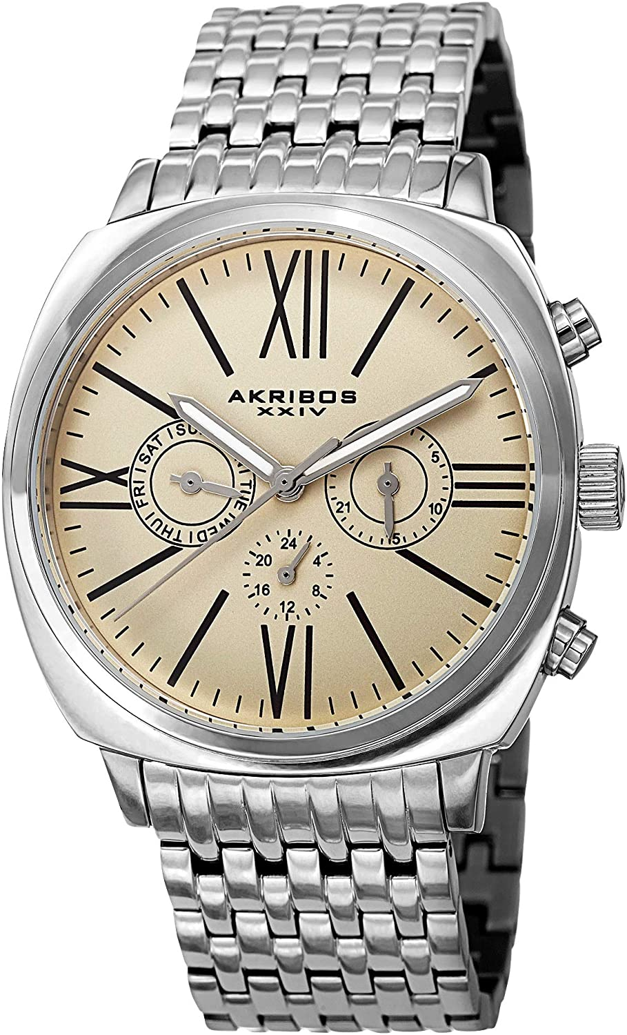 Akribos XXIV Men's Retro Swiss Multifunction Watch - 3 Subdials Day, Date and GMT On Stainless Steel Pillow-Cut Bracelet - AK636