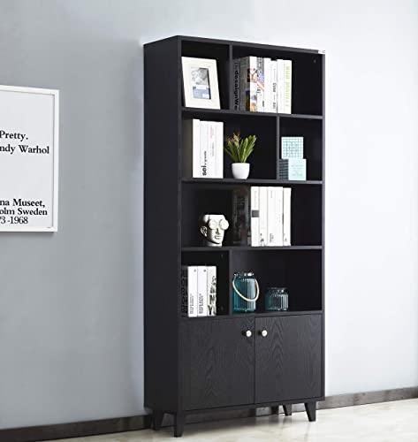 Mixcept Modern Bookcase with 2 Doors 68 Tall Storage Cabinet Wooden Bookshelf with 7 Compartments for Home Office, Black