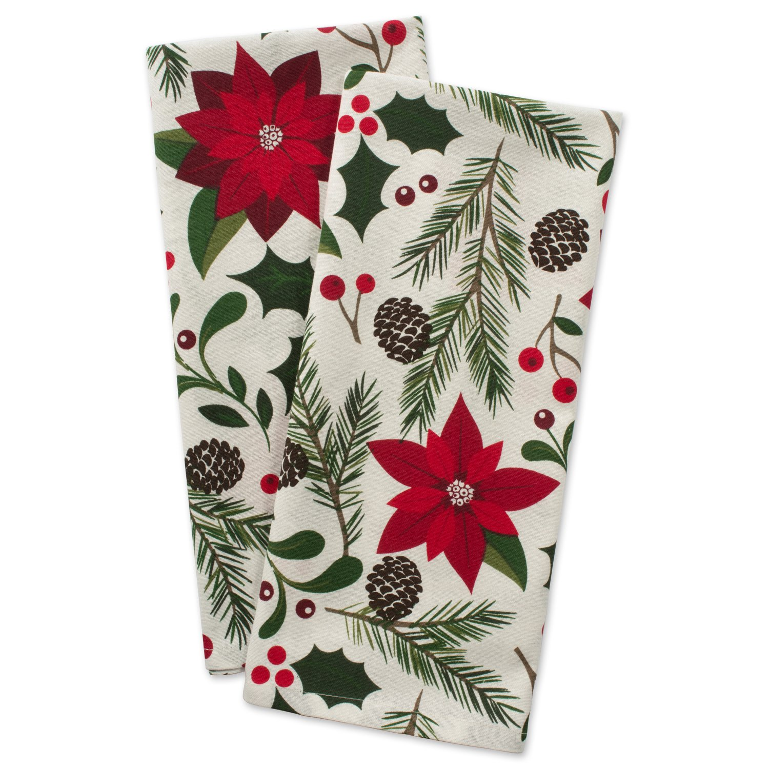 DII Cotton Decorative Christmas Dish Towel 18 x 28 Set of 2, Oversized Kitchen Dish Towels, Perfect Holiday, Hostee, Housewarming Gift-Woodland