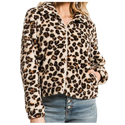 Z Supply Clothing Women's Leopard Sherpa Crop Jacket, Natural, Small at Women's Coats Shop