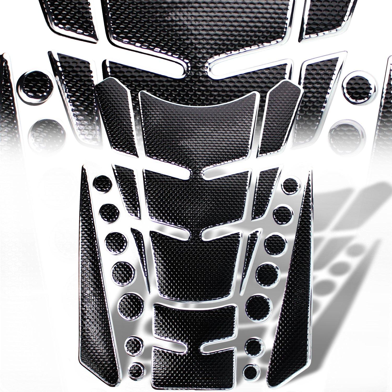3D 13-Piece Customize Fuel / Gas Tank Pad Protector Decal / Sticker Set Black + Chrome