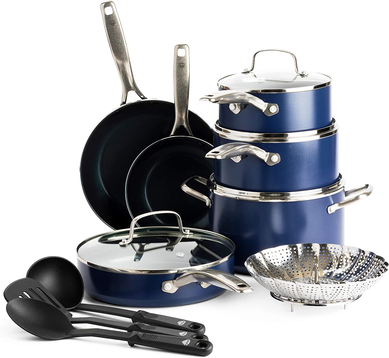 Blue Diamond Cookware Ceramic Nonstick Cookware Pots and Pans Set, 14 Piece