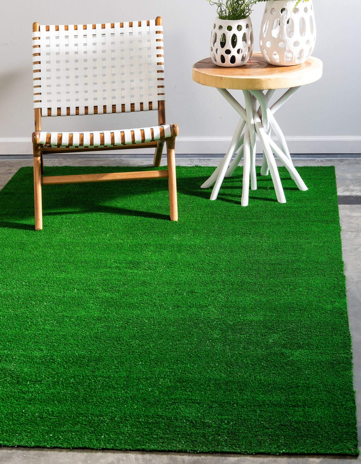 Unique Loom Outdoor Grass Collection Modern Transitional Indoor and Outdoor Flatweave Green Area Rug 4 0 x 6 0