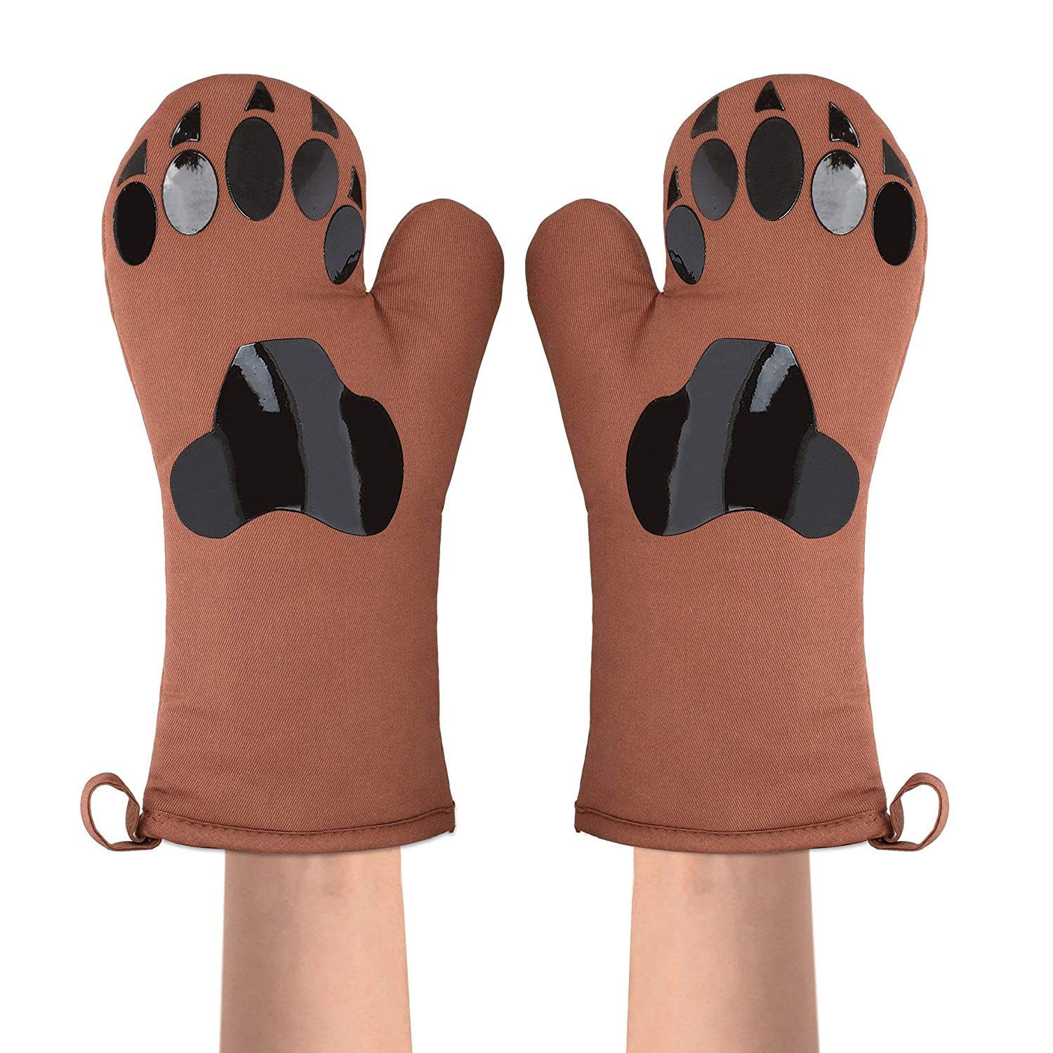 Emma Cassidy Oven Mitts Bear Paws - Set of 2 with Pot Holder - Silicone Pads on Brown Cotton Fabric - Funny Set - Easy Grip and Non-Slip for Kitchen - Gives You a Smile as You Cook