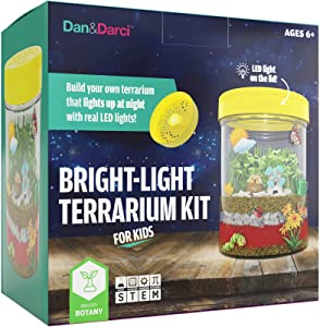Dan&Darci Bright-Light Terrarium Kit for Kids with LED Light on Lid | Build Your own Terrarium That Lights up at Night with Real LED Lights | Great Science Kits Gifts for Children | Kids Toys