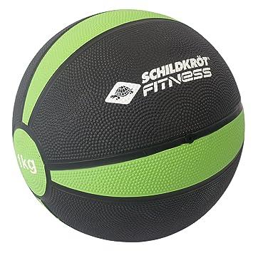 Schildkröt Fitness Balón Medicinal 1,0 kg, Negro/Verde, en Caja ...
