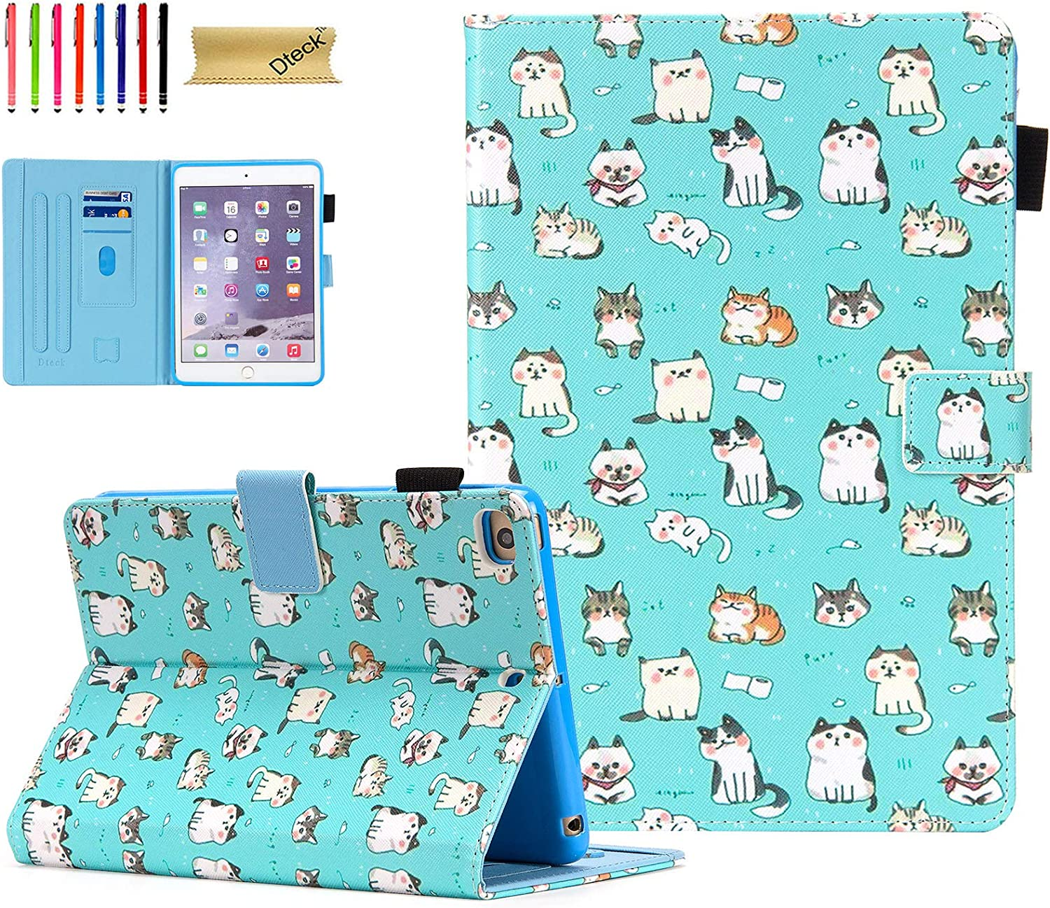 Dteck iPad Mini 5 Case/iPad Mini 4 Case/iPad Mini 3 2 1 Cases and Covers - Slim Folio Flip Stand Wallet Case Auto Wake/Sleep Magnet Smart Cover for Mini iPad 7.9 Inch Tablet, Cute Cats