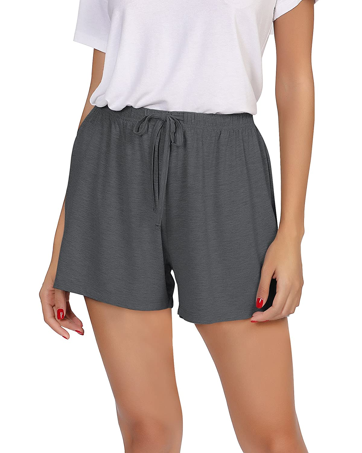 Dark Grey GYS Womens Bamboo Drawstring Pajama Shorts