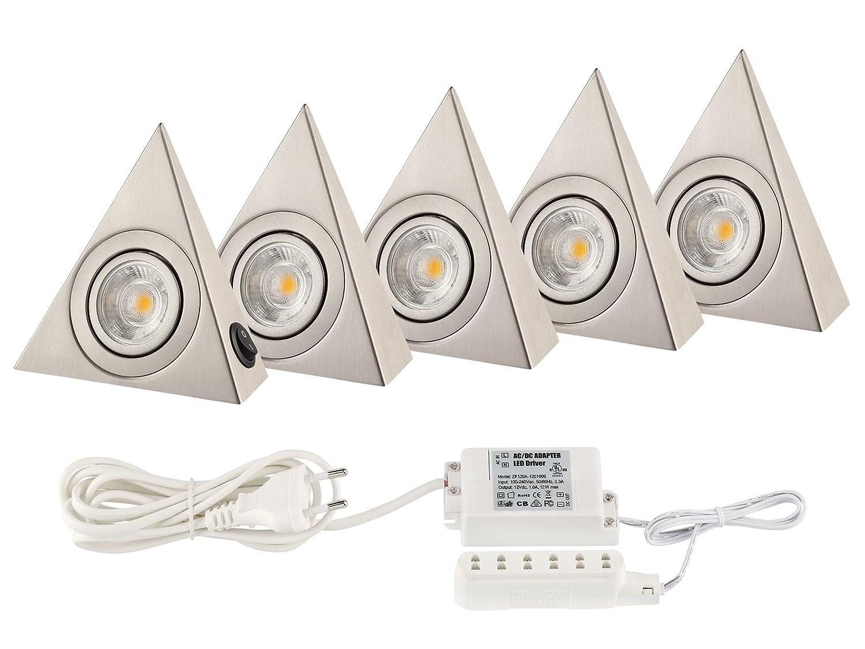Küchenlicht Küchen Unterbauleuchten COB LED je. 160 Lumen - Basis Set mit FÜNF Dreiecken