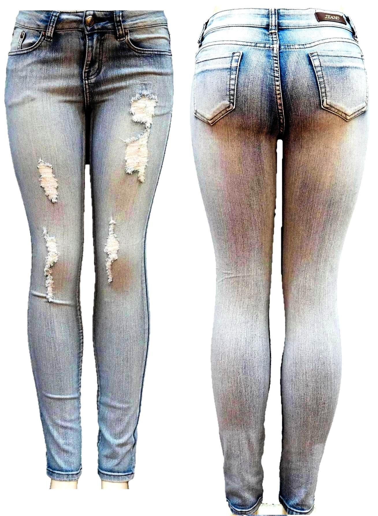 Jean9 Womens Light Blue Denim Jeans Destroy Skinny Ripped Distressed Pants (7) by JEANS FOR LOVE (Image #1)