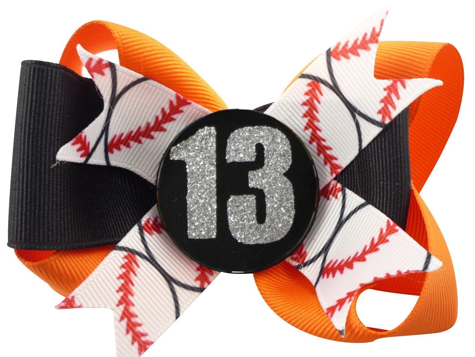 Baseball Glitter Bow for Girls Hair Personalized with Player Number