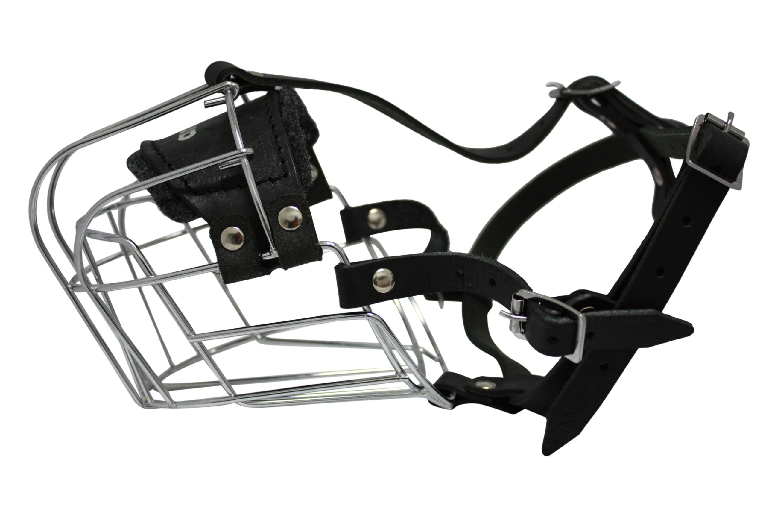 Wire Cage & Leather Muzzle (Miami). Size R2, Black. 14''.5 circumference, 4'' length. Best fits dogs with broad snouts like: Rottweilers