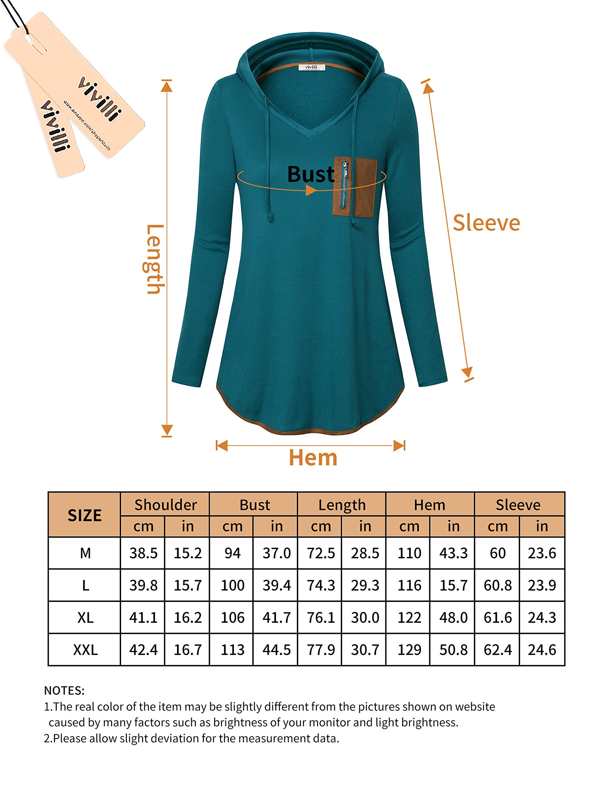 Vivilli Women Pullover V Neck Tunic Hoodie for Women Long Sleeve Tunic Faux Suede Splicing Drawstring Hoodies with Pocket