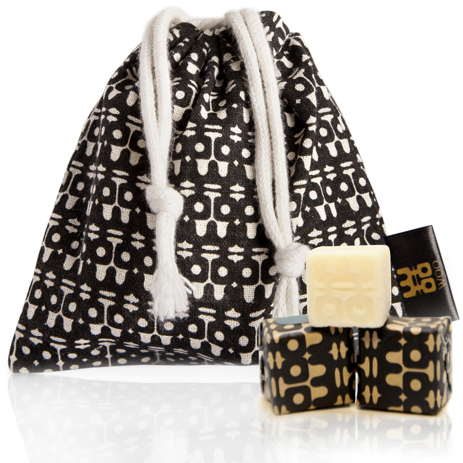 WOO Eco-Friendly Scented Sachets by Premium Handmade Beeswax Scented Cubes in an Exquisite Cotton Sachet | Perfect for Wardrobes, Drawers and Rooms | Lasts for Years (Treasure) by WOO (Image #1)