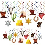 TMCCE Wild West Cowboy Western Hanging Swirls Foil Western Party Decoration Western Cowboy Theme Party Photography Backdrop S