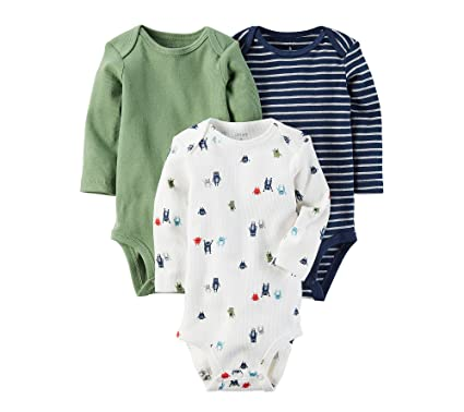 d0aa860cbb9f Amazon.com  Carter s Baby Boys  3-Pack Long-Sleeve Bodysuits  Clothing