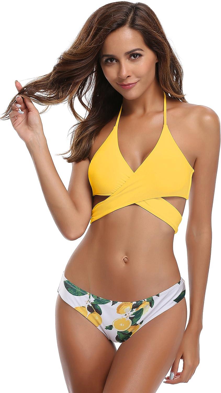 SHEKINI Mujeres Front Cross Bandage Bikini Floral impresión ...