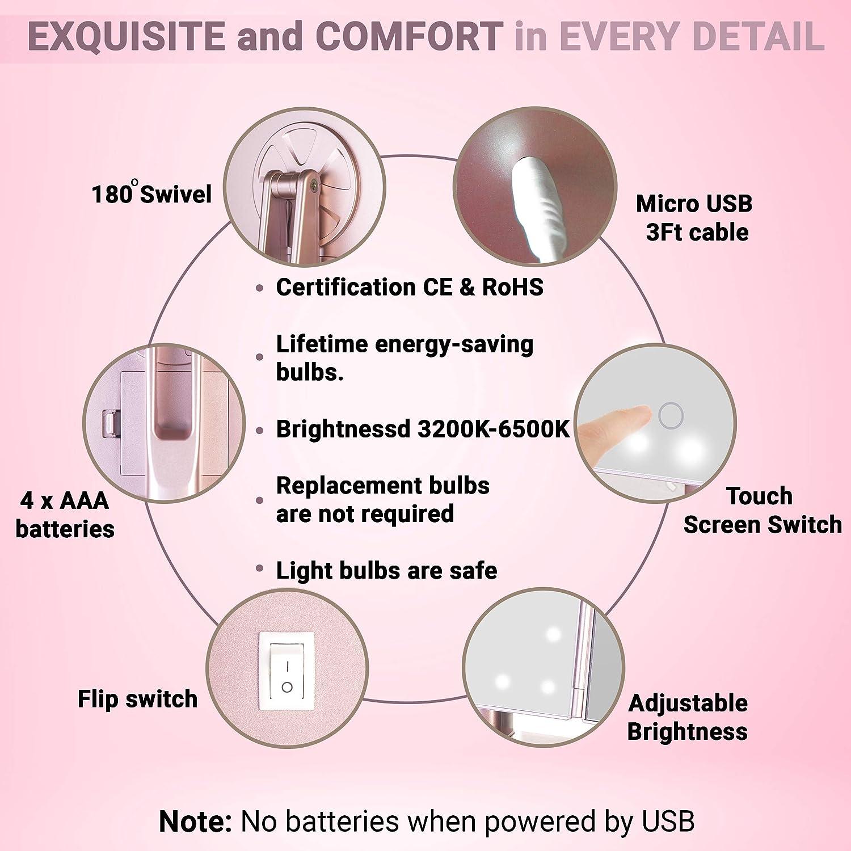 Amazon.com: RoLeDo Espejo de maquillaje con 24 luces LED ...