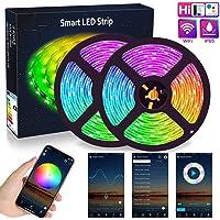 WIFI LED Strip Lights 10M (2x5M), ALED LIGHT RGB LED Strips Lights 5050 SMD 300 (2x150), 16 Million Colors, Sync with…