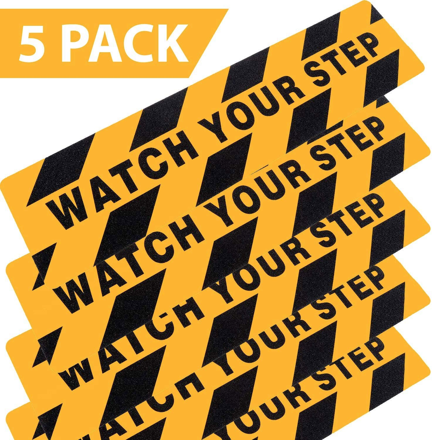 Mobling Watch Your Step Anti Slip/Skid Abrasive Sticker [5 Pack] - Safety for OSHA/Winter Ice & Slippery Steps