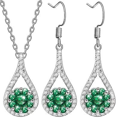 d2f69a9b570 Dawanza-Cadeau Femme Bijoux Parure Femme Cristal Vert Émeraude en Plaqué Or  Blanc-Corbeille