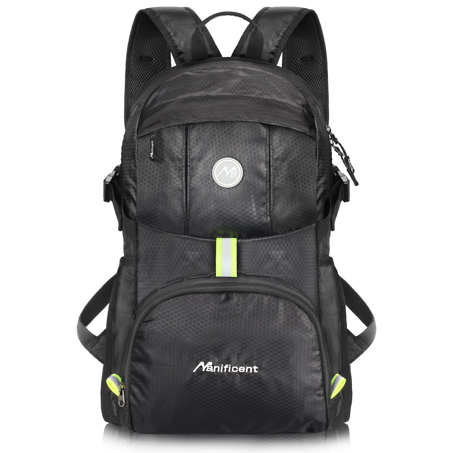 Manificent Lightweight Packable Travel Hiking Backpack, Durable Daypack, Water Resistance Foldable Camping Outdoor Sport Backpack, Black by Manificent
