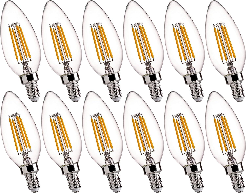 B11 E12 Led Candelabra Base Bulbs 60w Equivalent Flsnt 4 5w Dimmable Led Candle Light Bulbs 2700k Soft White 450lm Cri80 Pack Of 12 Amazon Com