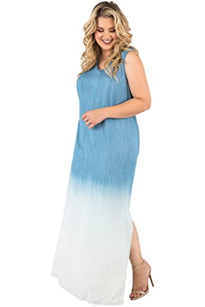 3504fcb16a1 Standards & Practices Plus Size Women's Sleeveless Ombre Blue Tencel Maxi  Dress ...
