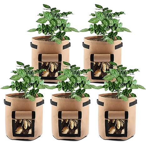 SHANNA, Bolsas de Cultivo para Patatas, Zanahorias, Tomates, cebollas, 7 galones, Doble Capa de Tela no Tejida Transpirable Premium con Asas de Correa