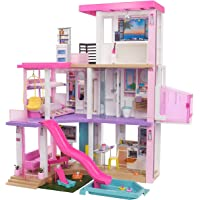 Barbie Dreamhouse (3.75-ft) 3-Story Dollhouse Playset with Pool & Slide, Party Room, Elevator, Puppy Play Area…