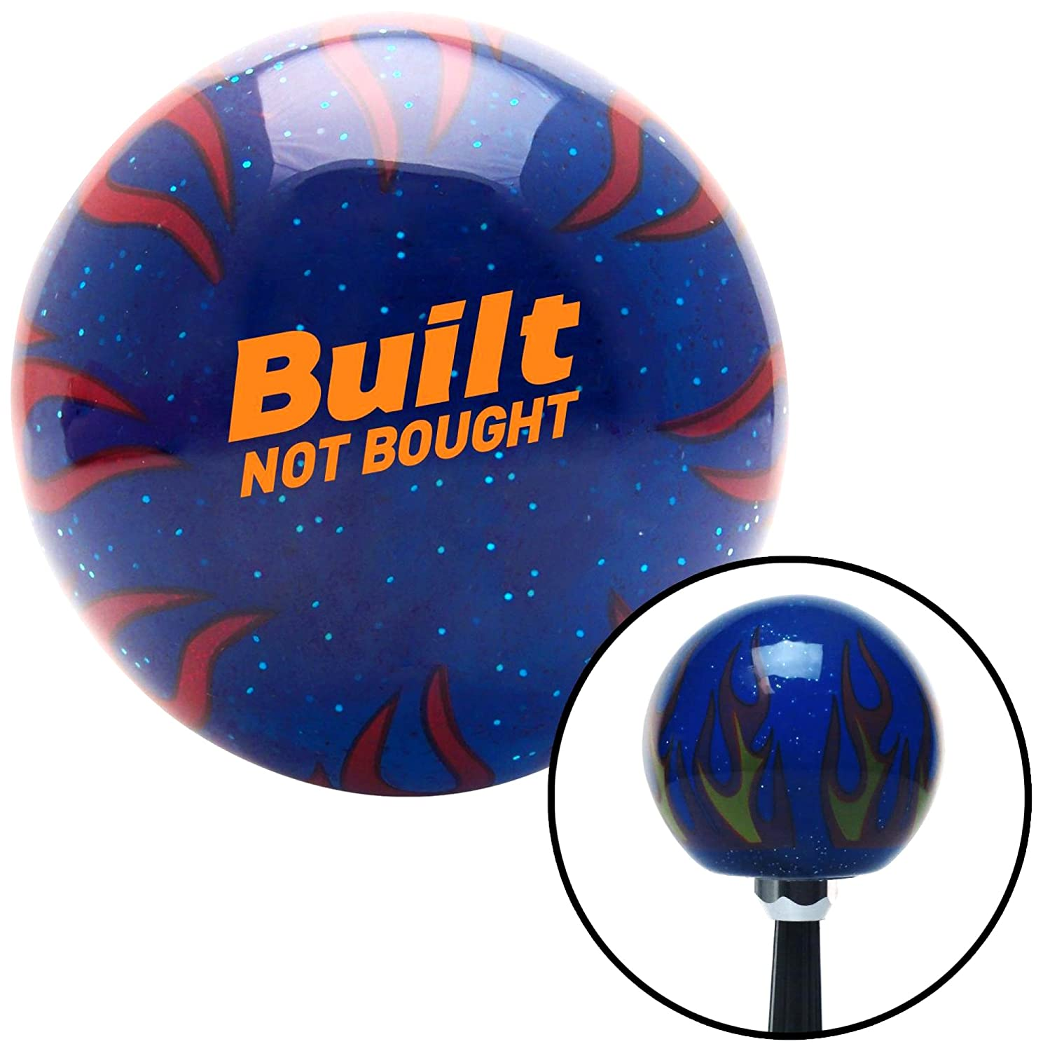 American Shifter 327768 Yellow Built Not Bought Simple Blue Flame Metal Flake Shift Knob with M16 x 1.5 Insert