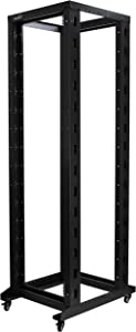 NavePoint 42U Professional 4-Post IT Open Frame Server Network Relay Rack 800mm Casters Black