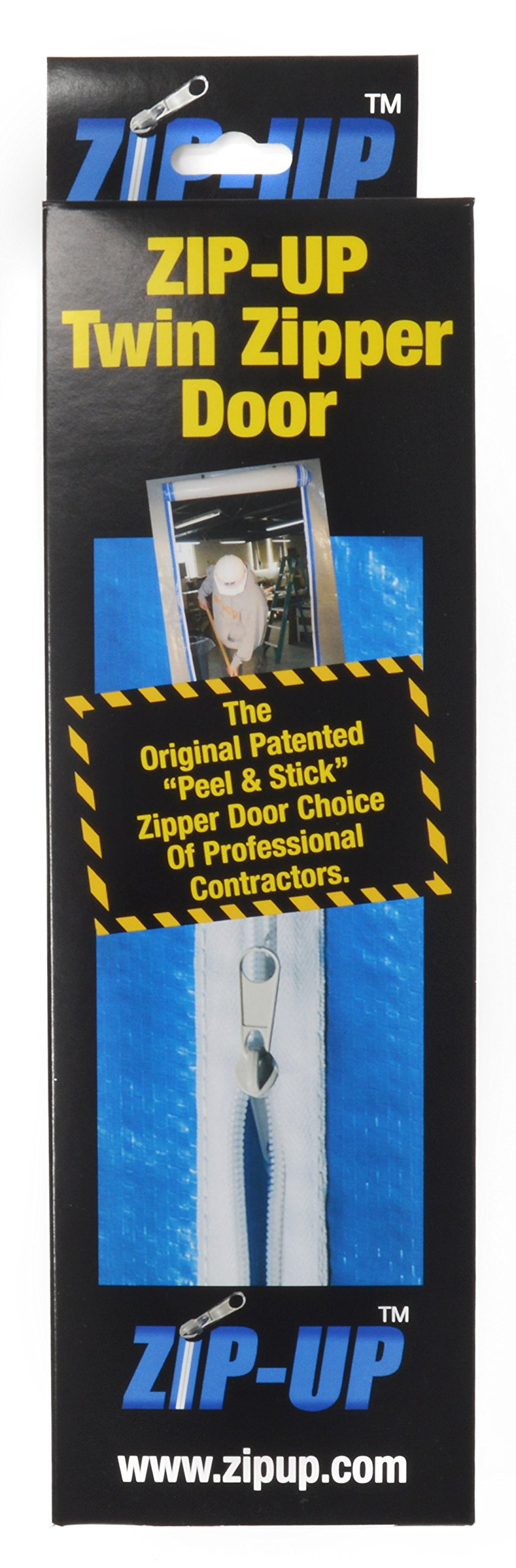 Zip-Up Products Air-Tight Twin Zipper Door - 84'' x 3'' 2 Pack For Jobsite Dust Containment with Patented Airtight Zipper & Peel & Stick Backing - ZIP7.3TWB by Zip-Up Products